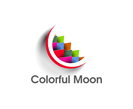 Illustratie van een kleurrijke maan logo op een witte achtergrond.