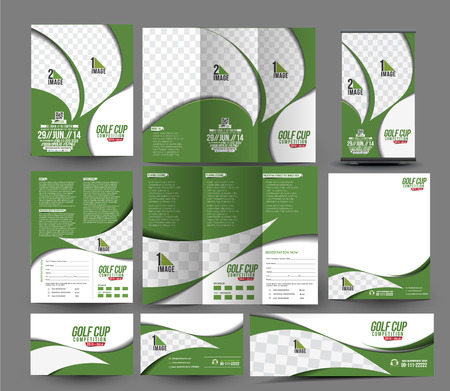 Golf Club Business Stationery Set Template.