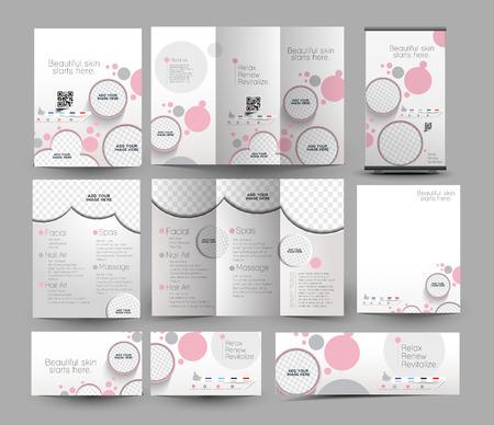 beauté: Beauté & Soins Salon Business Template Set papeterie Illustration