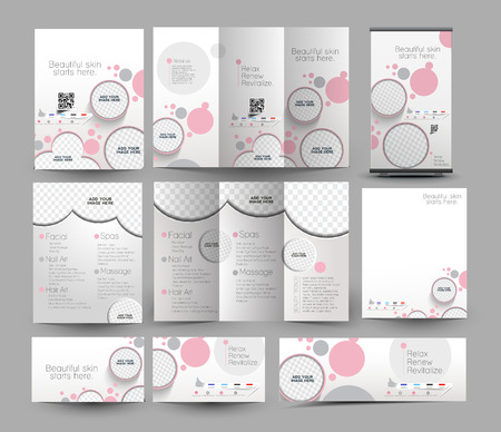 Schönheitspflege & Salon Business Stationery Set Template Illustration