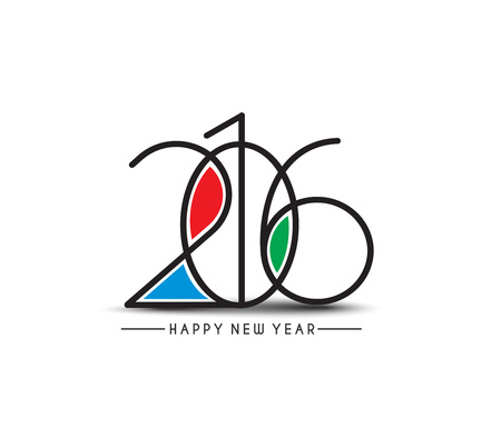 new years resolution: Happy new year 2016 Text Design Illustration