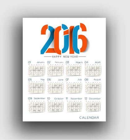 new years resolution: New year 2016 Calendar Design.