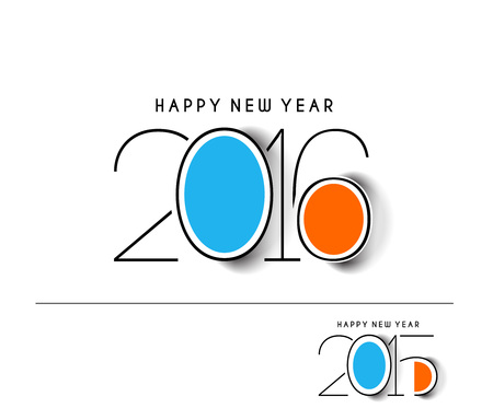 decorative card symbols: Happy new year 2016 Text Design Illustration