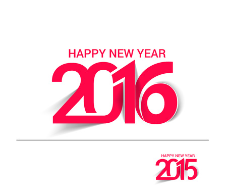greetings from: Happy new year 2016 Text Design Illustration