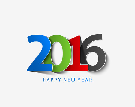 new year card: Happy new year 2016 Text Design Illustration