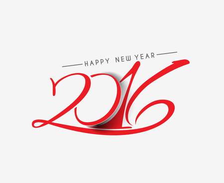 new designs: Happy new year 2016 Text Design Illustration