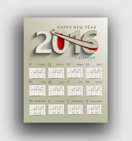 calendar design: New year 2016 Calendar Design.
