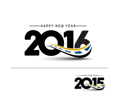 happy new year: Happy new year 2016 Text Design Illustration