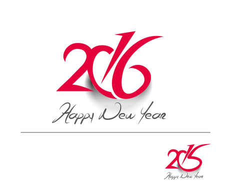 celebration event: Happy new year 2016 Text Design Illustration