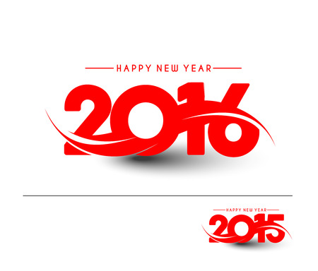 Happy new year 2016 Text Design Ilustracja