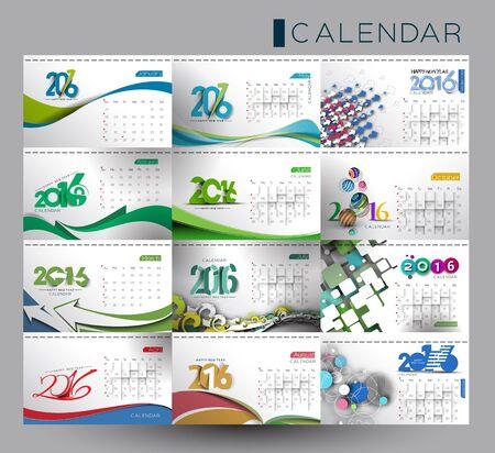 kalendarz: Zestaw Szczęśliwego nowego roku 2016 Kalendarz projektu, ilustracji wektorowych.