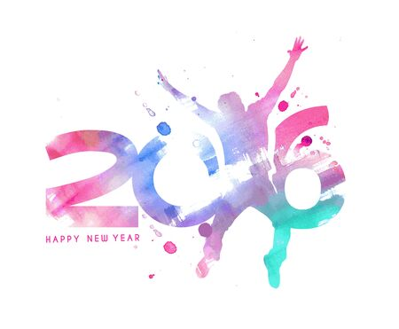 new years eve: Happy new year 2016 Text Design, vector Illustration.