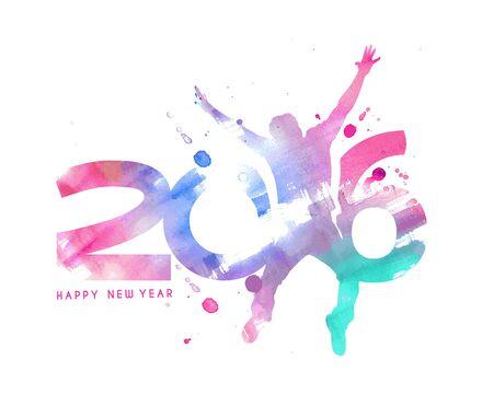 New Year: Szczęśliwego nowego roku 2016 Tekst projektu, ilustracji wektorowych.