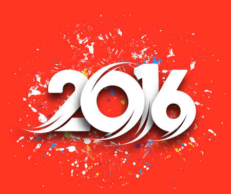 merry: Happy new year 2016 Text Design, vector Illustration.