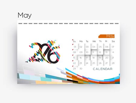 new years resolution: Happy new year 2016 Calendar Design, Vector Illustration