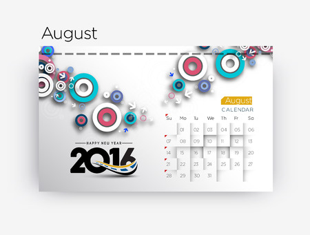 Happy new year 2016 Calendar Design, Vector Illustration