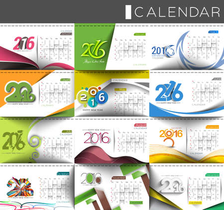 new years resolution: Set of Happy new year 2016 Calendar Design, Vector Illustration.