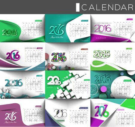 typography design: Set of Happy new year 2016 Calendar Design, Vector Illustration.