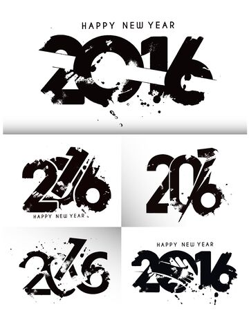 happy new year text: Set of Happy new year 2016 Text Design
