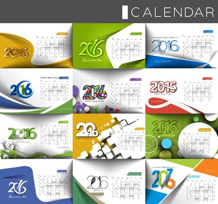Set of Happy new year 2016 Calendar Design, Vector Illustration.