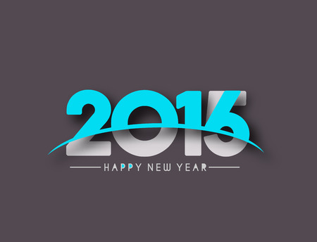 celebra: Nuevo dise�o del texto del feliz a�o 2016, ilustraci�n vectorial.