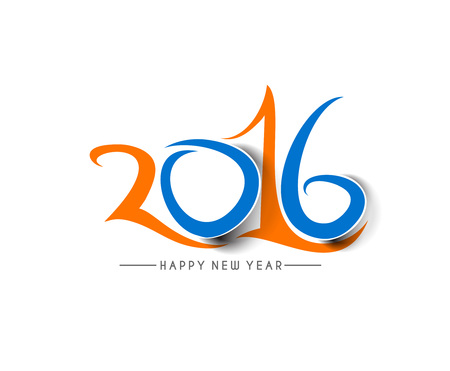 happy new year text: Happy new year 2016 Text Design, vector Illustration.