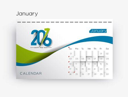 calendario: Feliz A�o Nuevo 2016 del calendario de dise�o, ilustraci�n vectorial Vectores
