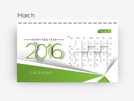 kalendarz: Szczęśliwego nowego roku 2016 Kalendarz projektu, ilustracji wektorowych