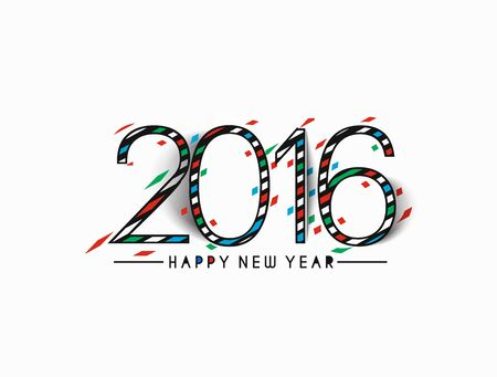 happy new year text: Happy new year 2016 Text Design Illustration