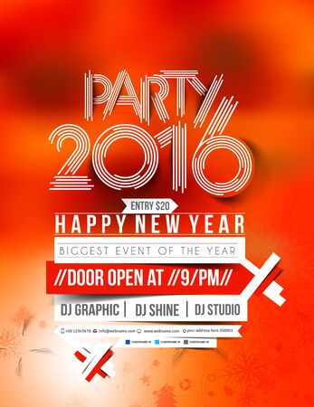 new years resolution: Happy new year 2016 Flyer & Poster Vector Design Background Illustration