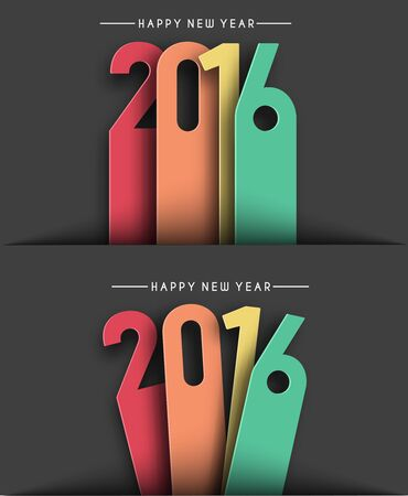 winter party: Happy new year 2016 Text Design Illustration