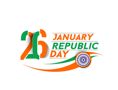 26 january: Indian Republic day concept with text 26 January.
