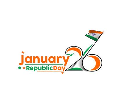 concetto indiano giorno Repubblica con il testo 26 gen. Vettoriali
