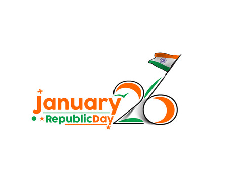 Indian Republic Day concept met tekst 26 januari.