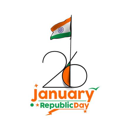 enero: día concepto indio República con el texto 26 de enero.