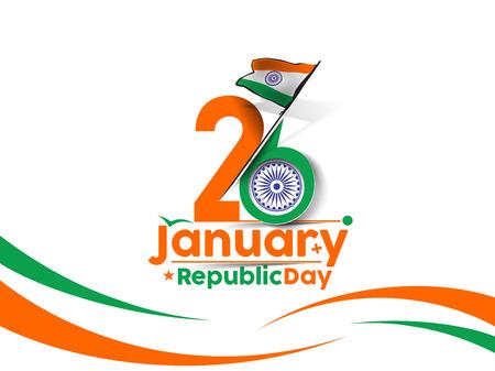 bandera: día concepto indio República con el texto 26 de enero.