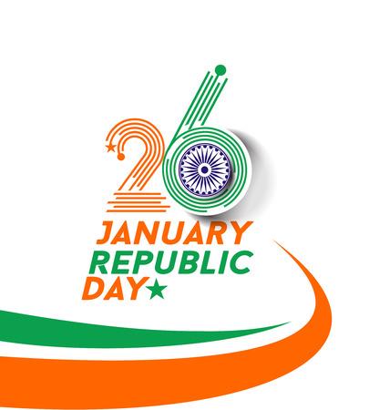 january: d�a concepto indio Rep�blica con el texto 26 de enero.