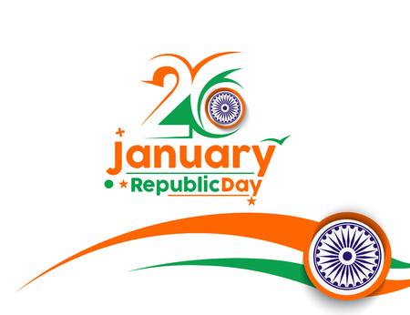 the january: d�a concepto indio Rep�blica con el texto 26 de enero.