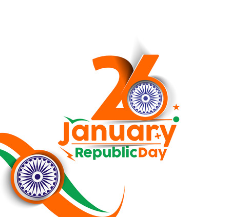 republic: Indian Republic day concept with text 26 January.
