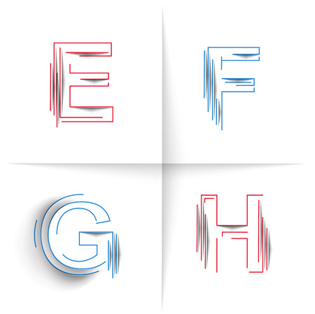 spattered: Creative Graphic Alphabet ( E, F, G, H ) Design Vector