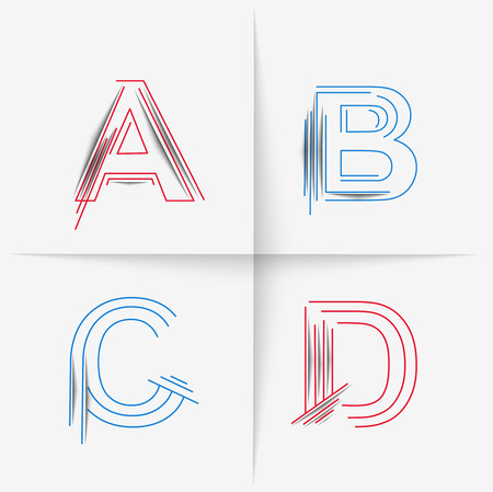 spattered: Creative Graphic Alphabet ( A, B, C, D ) Design Vector Illustration