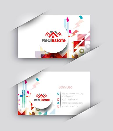 real business: Real estate Business Card Vector Template.