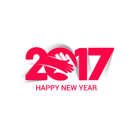 happy new year text: Happy New Year 2017 Text Decorated Design Illustration