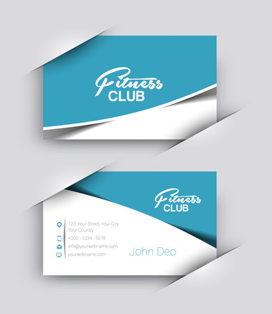 card: Fitness Center Business Card Vector Template.