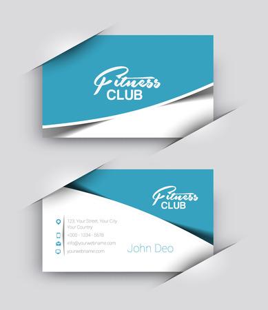 Fitness Center Business Card Vector Template.