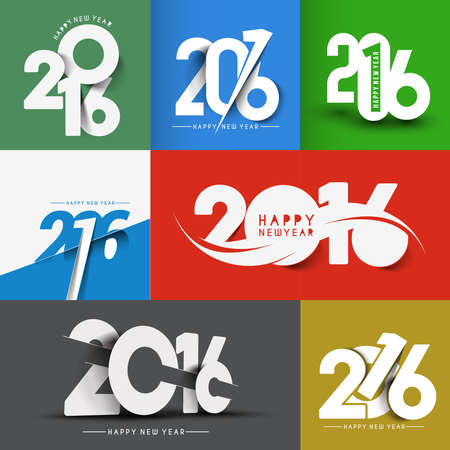text background: Set of Happy New Year 2016 Text Decorated Design