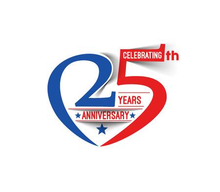 anniversario matrimonio: 25 Years Anniversary Celebration Design. Vettoriali