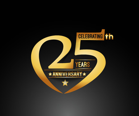 25 Years Anniversary Celebration Design. Stock Illustratie