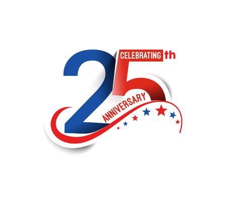 祝賀会: 25 年周年記念お祝いデザイン。  イラスト・ベクター素材