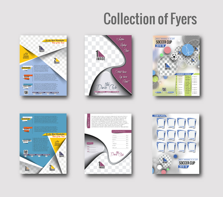 Set of Flyer & Poster Design in A4 Size Template. Vector Illustration